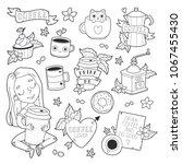 big set of line art icons  girl ... | Shutterstock .eps vector #1067455430