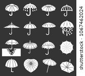 umbrella icons set vector white ... | Shutterstock .eps vector #1067462024