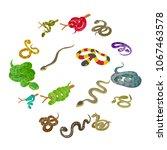 snake icons set. isometric...   Shutterstock .eps vector #1067463578