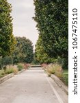 Small photo of Nice / France: 02.10.2017: Road in french garden in the Monastery of Cimieux in Nice France