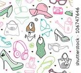 seamless girls summer beach... | Shutterstock .eps vector #106747646