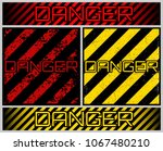 grunge danger sign. scratched... | Shutterstock .eps vector #1067480210