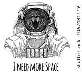 bear astronaut. space suit.... | Shutterstock .eps vector #1067481119