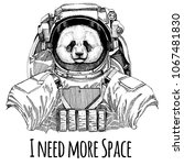 panda  bamboo bear astronaut.... | Shutterstock .eps vector #1067481830