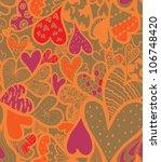 doodle textured hearts seamless ...   Shutterstock .eps vector #106748420
