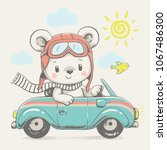 cute bear driving the car...   Shutterstock .eps vector #1067486300