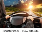 truck dashboard with driver's... | Shutterstock . vector #1067486333