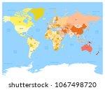 world map atlas. colored... | Shutterstock .eps vector #1067498720