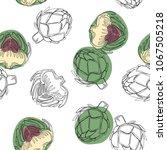 artichoke hand drawn seamless... | Shutterstock .eps vector #1067505218