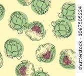 artichoke vector background ... | Shutterstock .eps vector #1067505224