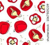 red pepper seamless pattern....   Shutterstock .eps vector #1067505239