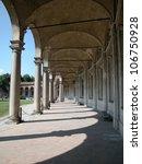 View of ancient arches of Rotonda Besana, Milan, Lombardy, Italy - stock photo