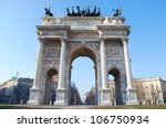 Historical marble arch Arco della Pace, Sempione square, Milan, Lombardy, Italy - stock photo