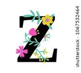 floral letter z. serif.... | Shutterstock .eps vector #1067532464
