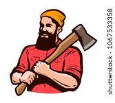 lumberjack  axeman with axe in...   Shutterstock .eps vector #1067533358