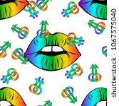 lgbt logo symbol sticker.  lips ...   Shutterstock .eps vector #1067575040