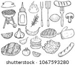 set of hand drawn grill design... | Shutterstock .eps vector #1067593280