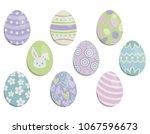 set of pastel easter eggs...   Shutterstock .eps vector #1067596673