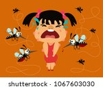 dengue fever. girl crying... | Shutterstock .eps vector #1067603030