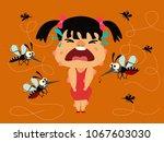 dengue fever. girl crying... | Shutterstock .eps vector #1067603030
