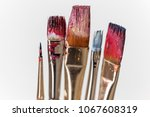 artist paint brushes close up ... | Shutterstock . vector #1067608319