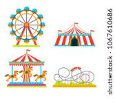 amusement park attractions... | Shutterstock .eps vector #1067610686