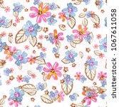 watercolor natural seamless... | Shutterstock . vector #1067611058