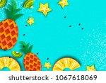 pineappple  carambola  kiwi.... | Shutterstock .eps vector #1067618069