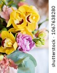 spring bouquet of flowers with...   Shutterstock . vector #1067638280