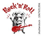 rock and roll lettering with... | Shutterstock .eps vector #1067651306