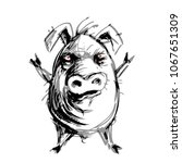 hand drawn angry pig. eps8. rgb ... | Shutterstock .eps vector #1067651309