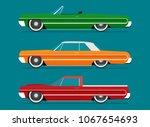 flat vector lowrider car icon | Shutterstock .eps vector #1067654693