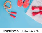 sneakers  dumbbells fitness and ... | Shutterstock . vector #1067657978