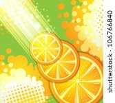 slices orange with rays of light | Shutterstock .eps vector #106766840