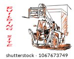 on the building site   Shutterstock .eps vector #1067673749