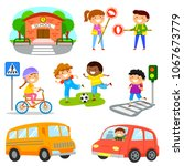 cute cartoon kids and objects... | Shutterstock . vector #1067673779