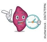 with clock sweet potato... | Shutterstock .eps vector #1067675996