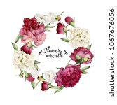 greeting card with peonies ... | Shutterstock .eps vector #1067676056