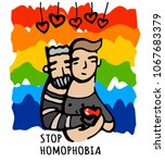 stop homophobia  a print with... | Shutterstock .eps vector #1067683379