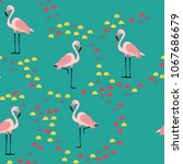 pink flamingo. pattern with... | Shutterstock .eps vector #1067686679