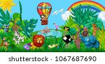 traveling  by airballoon zoo... | Shutterstock . vector #1067687690