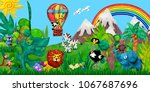 traveling  by airballoon zoo... | Shutterstock . vector #1067687696