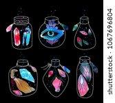magic cartoon jars set. magical ...   Shutterstock . vector #1067696804