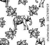 seamless pattern of hand drawn... | Shutterstock .eps vector #1067698919