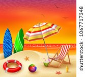it's summer time banner with... | Shutterstock .eps vector #1067717348