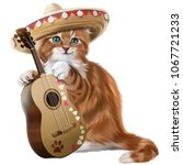 Stock photo ginger kitten playing the guitar watercolor painting 1067721233