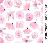 seamless pattern with hand... | Shutterstock . vector #1067724434