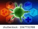 3d rendering viruses in... | Shutterstock . vector #1067731988