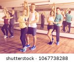 group of active adults dancing... | Shutterstock . vector #1067738288