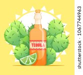 tequila bottle with lime and... | Shutterstock .eps vector #1067744963